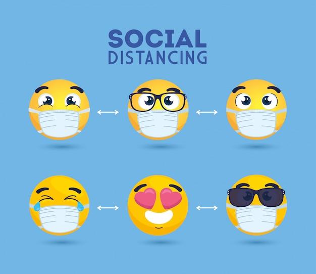 Социальные дистанцирующие эмодзи в медицинской маске, желтые лица на публике