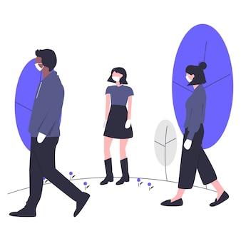 Social distancing flat illustration design