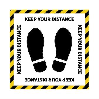 Social distancing footprint sign keep the 2 meter distance