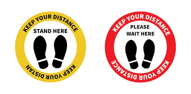 Social distancing footprint sign for stand in supermarket keep the 2 meter distance
