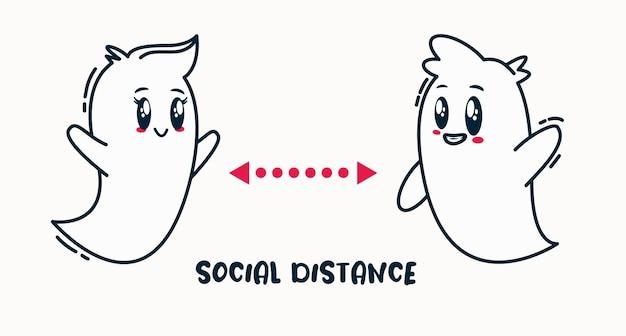 Социальное дистанцирование на день хэллоуина. призраки вечеринок держатся на расстоянии, чтобы избежать заражения