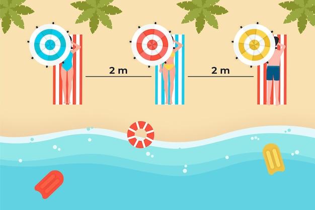 Социальное дистанцирование для людей на пляже