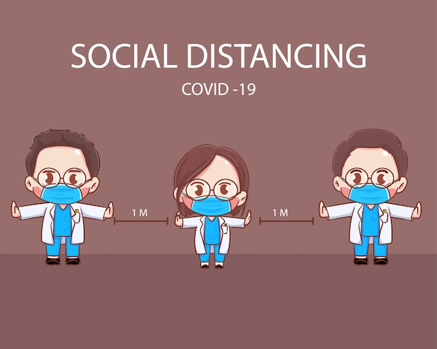 Social distancing illustrated concept female male doctor    illustrations