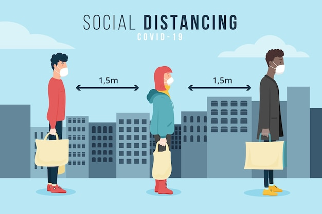 Social distancing illustrated concept