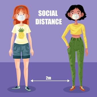 社会的距離の図解