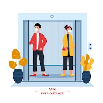 엘리베이터 개념의 사회적 거리두기