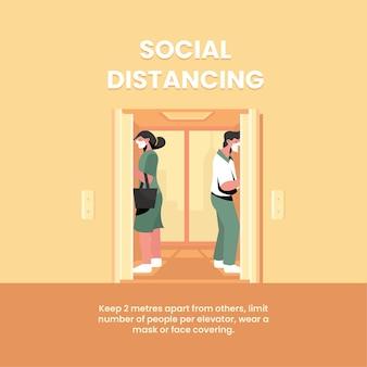엘리베이터에서 사회적 거리두기