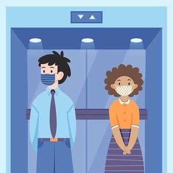 Социальное дистанцирование в лифте