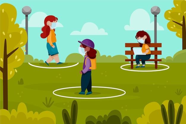 공원에서 사회적 거리