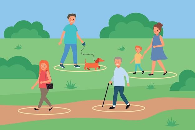 Социальное дистанцирование в парке