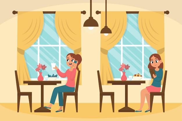 レストランのイラストの社会的距離