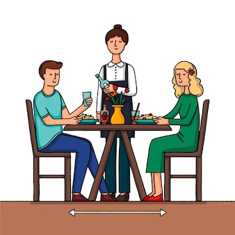人とレストランでの社会的距離