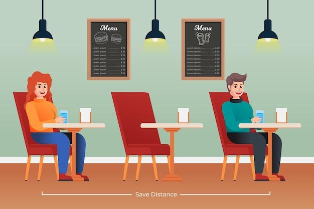 식당에서의 사회적 거리