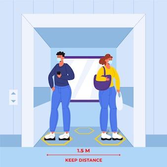 엘리베이터에서 사회적 거리두기 무료 벡터