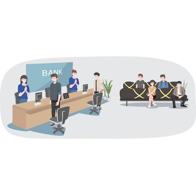 Социальное дистанцирование в иллюстрации банковского обслуживания