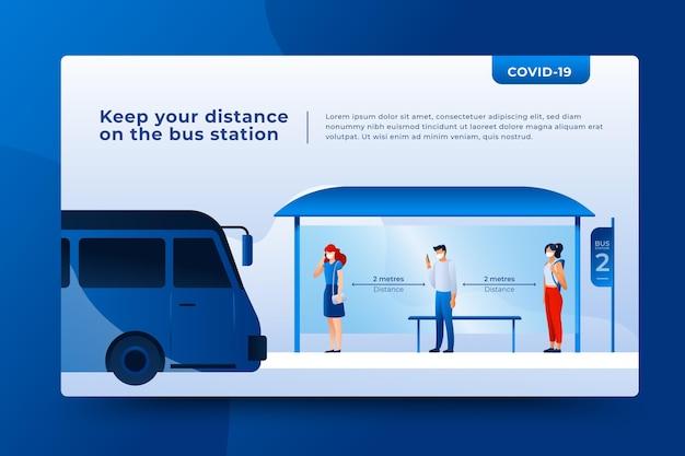 Социальное дистанцирование в общественном транспорте Бесплатные векторы