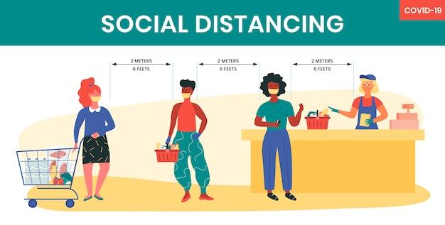Социальное дистанцирование в супермаркете во время карантина covid-19. предотвращение коронавирусной инфекции путем соблюдения расстояния 2 метра или 6 футов. кассир и покупатели. уход за собой и ответственность.