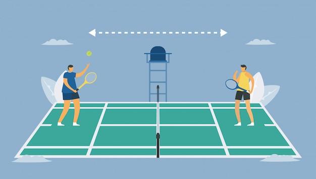 Социальное дистанцирование в теннисном спорте. играй от фрейнда. спасите жизнь от вспышки коронавируса. дизайн иллюстрации в плоском стиле.