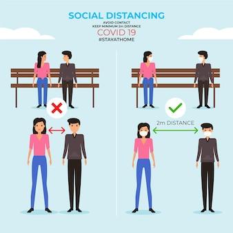 Infografica di allontanamento sociale