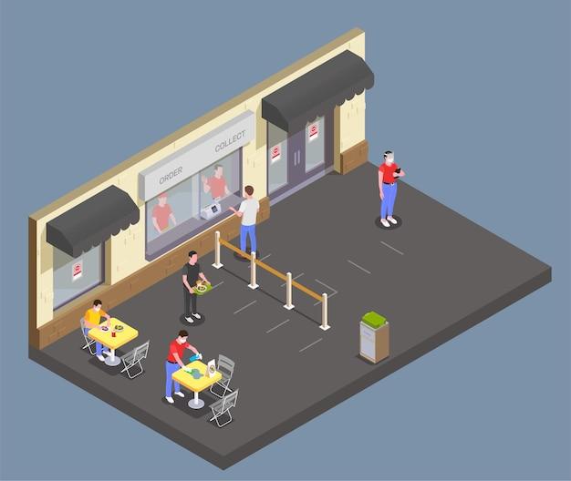 Изометрическая композиция социального дистанцирования с видом на фуд-корт кафе с разнесенными столами для сидений