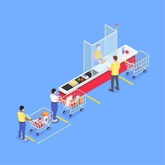 Social distancing isometric illustration