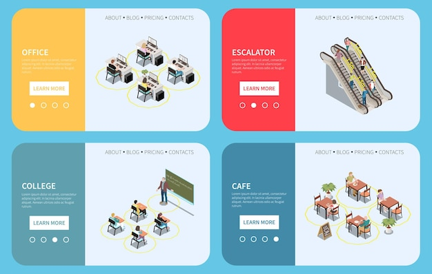 Social distancing isometric set of horizontal banners with text buttons and people at safe distance amount illustration