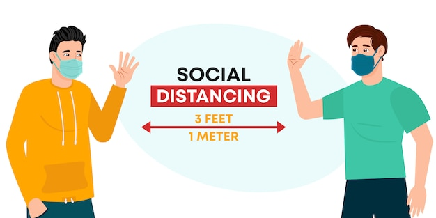 Social distancing, keep distance in public society people to protect from  coronavirus. friends keep distance away in the meeting