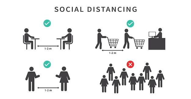社会的距離12メートルの距離を保つコロナウイルスの流行中は混雑を避ける