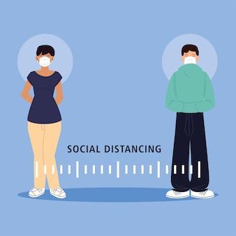 コロナウイルス感染症の間、社会的距離、男性と女性は公の社会で距離を保つ19