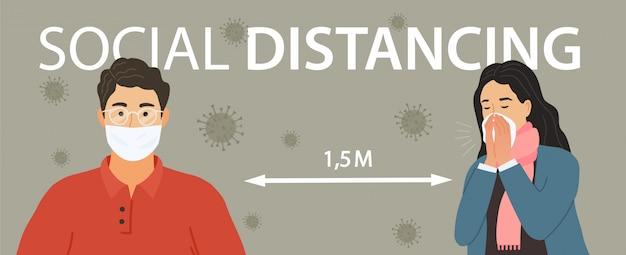 사회적 거리두기. 코로나 바이러스 질병으로부터 보호하기 위해 거리를 유지하는 남자와 여자. 삽화