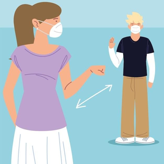 社会的距離、マスクを持った男性と女性が敬礼し、コロナウイルス感染時の距離予防を維持19