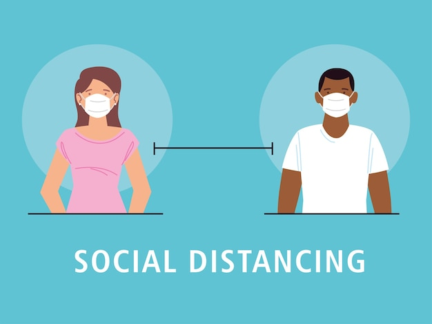Social distancing, man and woman keep distance 2 meters to prevent from covid 19