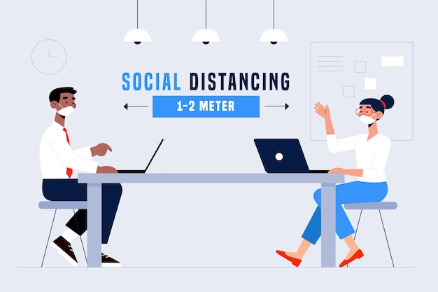 Social distancing in a meeting concept
