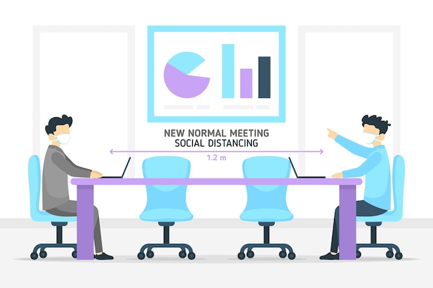 Distanziamento sociale in una riunione