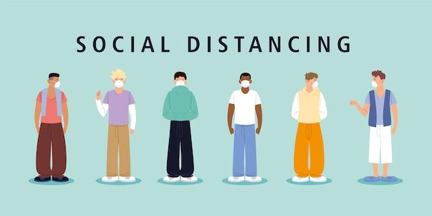 社会的距離、マスクを持った男性はコロナウイルスコビッド19の間距離を保ちます