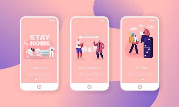 Social distancing mobile app page screen templates.