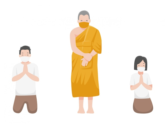 Social distancing, monk and people keeping distance for infection risk and disease