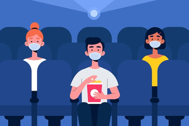Social distancing in movie theater