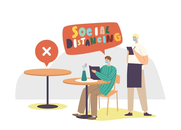 Social distancing and new normal after global pandemic. male character in cafe or restaurant after coronavirus outbreak, waiter in mask writing customer order. cartoon people vector illustration