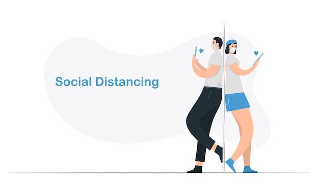 恋愛中のカップルの社会的距離。ミニマルなデザインはブルーの単色です。