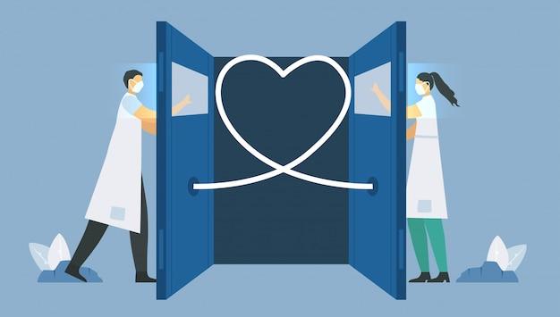 Социальное дистанцирование доктора и медсестры. они помогают пациентам, которые заражаются новым коронавирусом 2019 года. спасите жизнь. иллюстрация в плоском стиле.