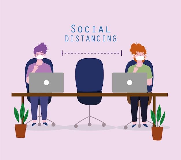 社会的距離のオフィス