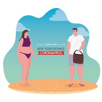 ビーチでの社会的距離、カップルは2メートルまたは6フィート、コロナウイルスまたはcovid-19ベクトルイラストデザイン後の新しい通常の夏のビーチのコンセプトに距離を保ちます