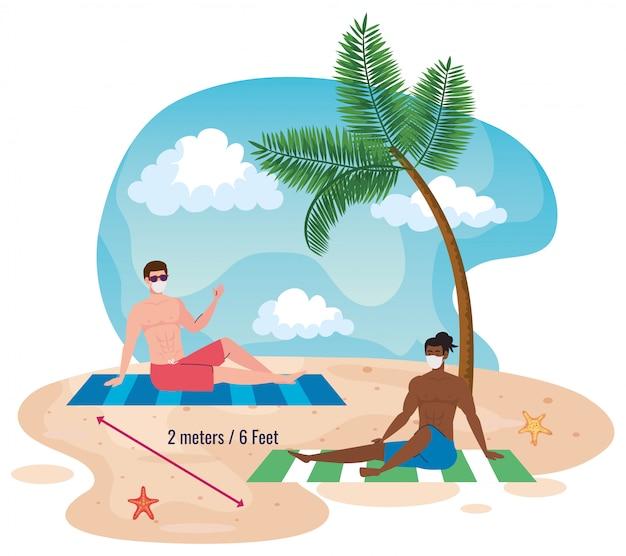 해변에서 사회적 거리를 유지하는 남성은 거리를 2 미터 또는 6 피트로 유지하고 코로나 바이러스 또는 코 비드 19 후 새로운 정상 여름 해변 개념을 유지합니다.