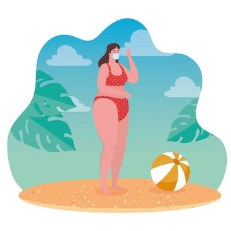 ビーチ、医療マスクを身に着けている女性の社会的距離、距離、コロナウイルスまたはcovid-19ベクトルイラストデザイン後の新しい通常の夏のビーチのコンセプト