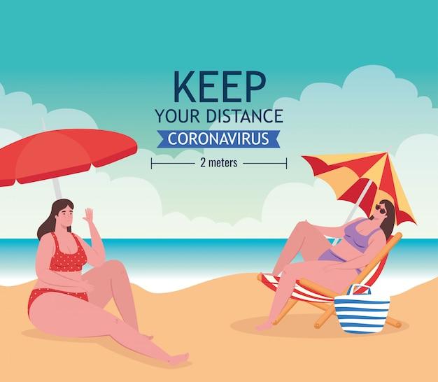 해변에서 사회적 거리, 여성은 거리 2 미터, 코로나 바이러스 또는 covid-19 벡터 일러스트 디자인 후 새로운 정상적인 여름 해변 개념을 유지