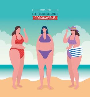 해변에서 사회적 거리, 여성은 거리 2 미터 또는 6 피트, 코로나 바이러스 또는 covid-19 벡터 일러스트 디자인 후 새로운 정상적인 여름 해변 개념을 유지