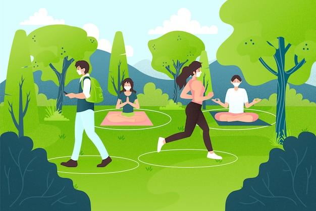 Distanziamento sociale in un parco