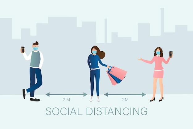 Social distancing people in flat style. medical prevention illustration.