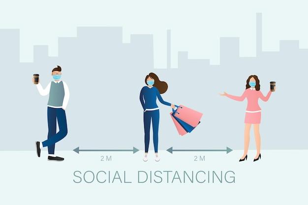 플랫 스타일의 사회적 거리를 두는 사람들. 의료 예방 그림.